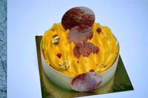 Gâteau glacé - glace vanille, sorbet fraise et sorbet mangue passion