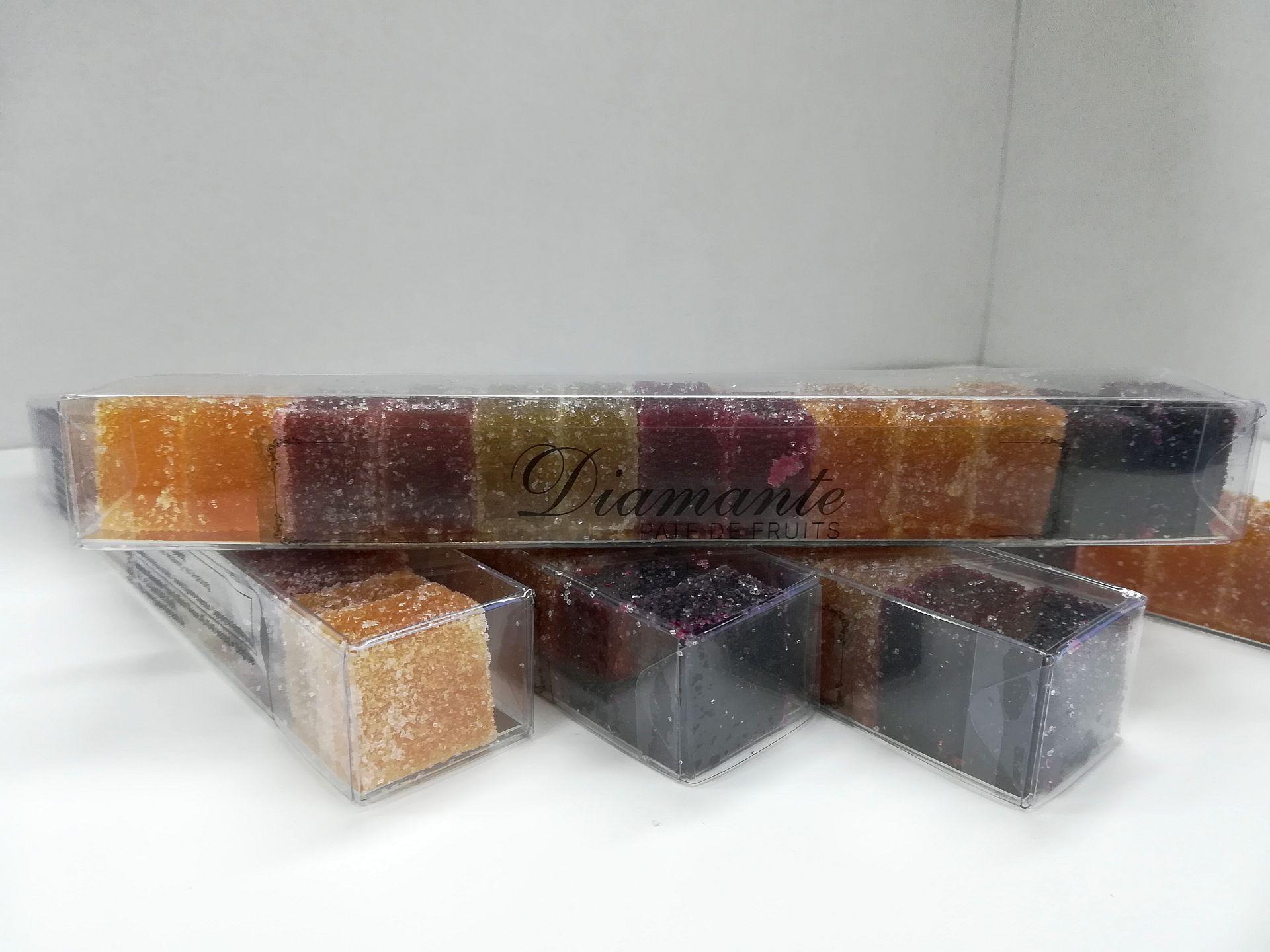 Diamante : Pâtes de fruits au goût de passion, fraise, kiwi, framboise, abricot et cassis